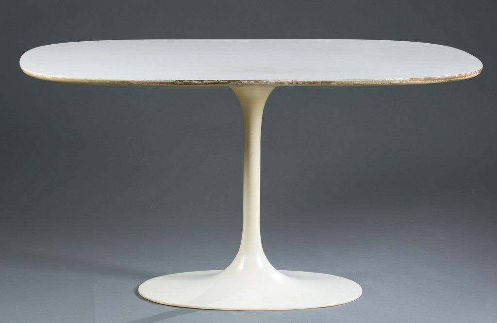 """An Eero Saarinen oval """"Tulip"""" table."""