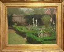 Carl Hirschberg garden scene o/c.