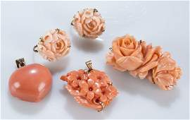 Group of carved coral jewelry