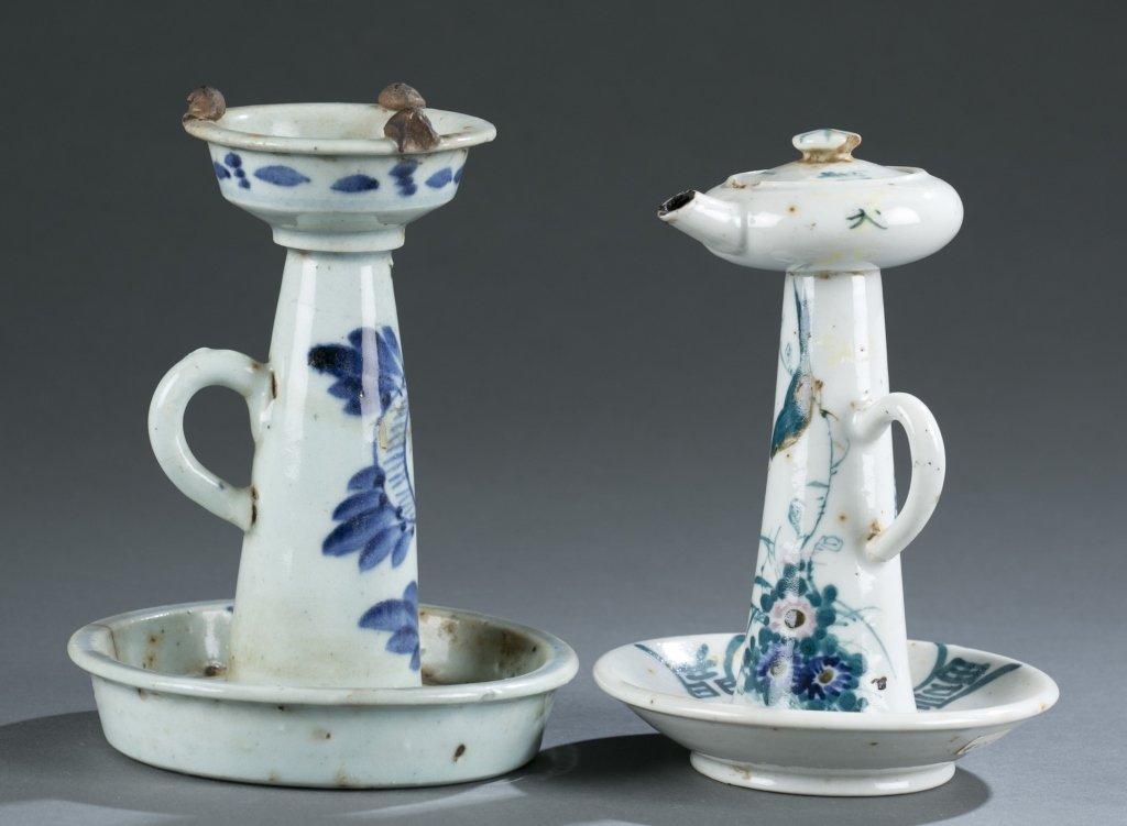 Group of 2 porcelain oil lamps.