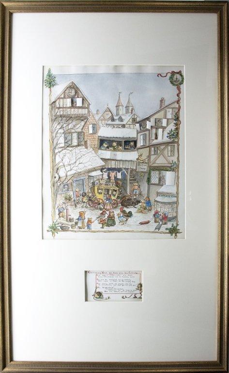 Tasha Tudor. [Advent Calendar] Ink and watercolor.