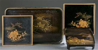 Group of 4 Japanese lacquer trays.