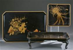 Group of 3 Japanese lacquer trays.