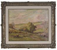 Edgar Nye, landscape with river, oil on canvas.