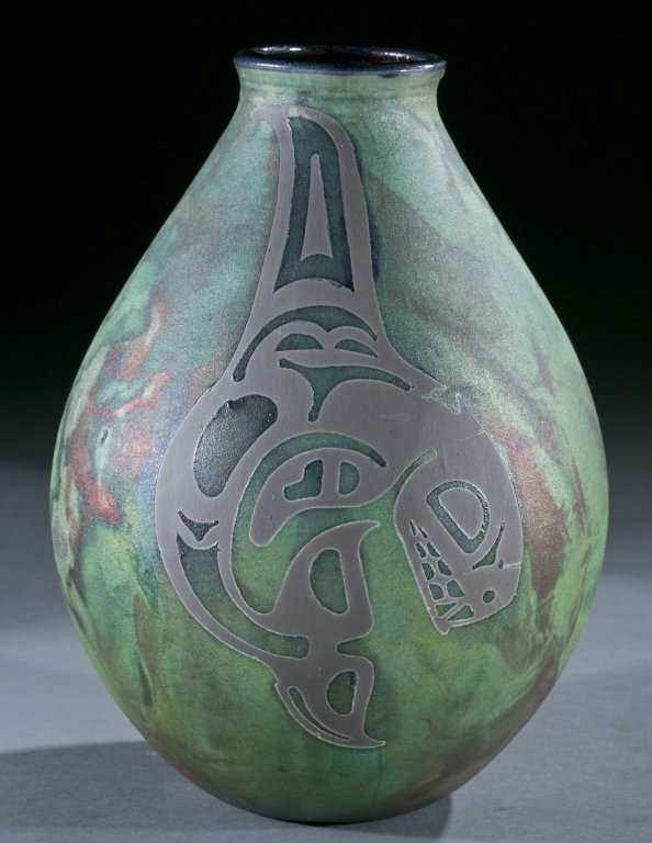 Pair of raku vases by Stephen Roy, 20th century.