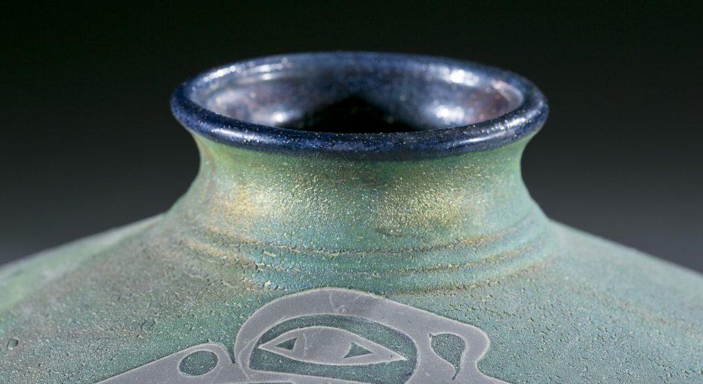 Pair of raku vases by Stephen Roy, 20th century. - 7