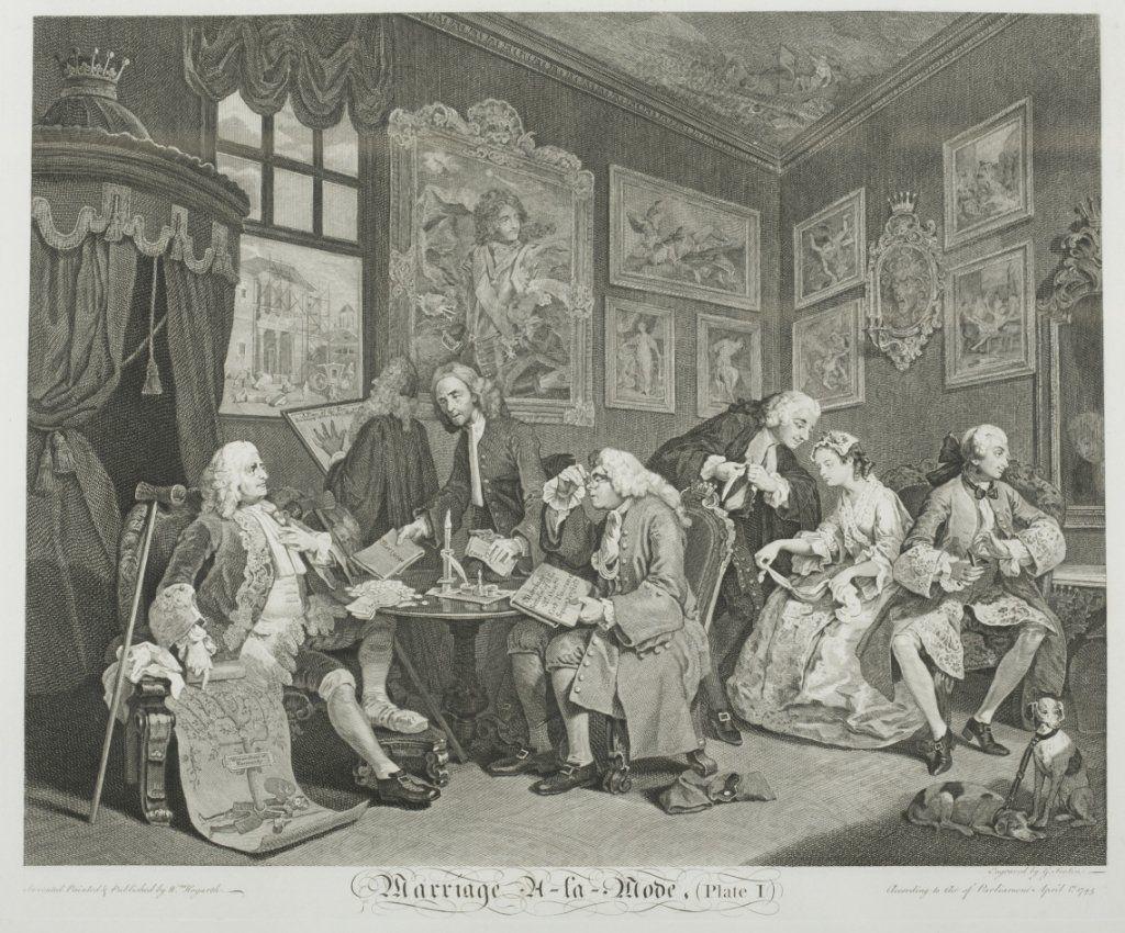 William Hogarth 6 Marriage a la Mode, engravings.