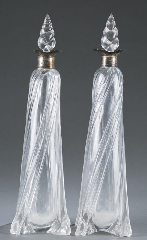 Pair of English glass decanters.