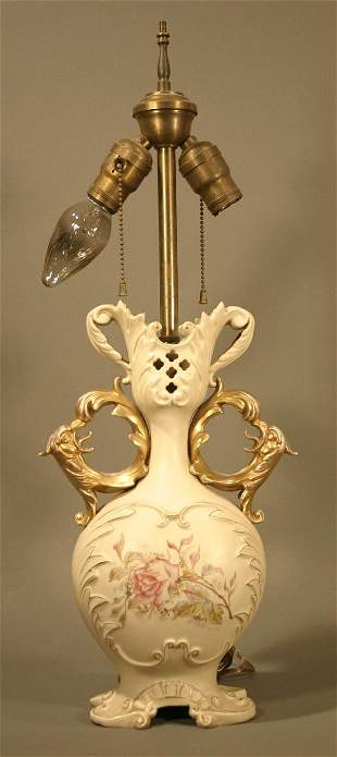 002: German porcelain vase converted to a lamp