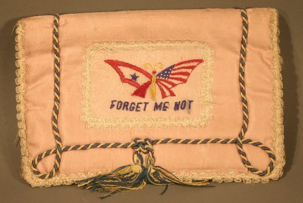 """004: Handmade embroidered World War 2 """"Forget Me Not"""" H"""