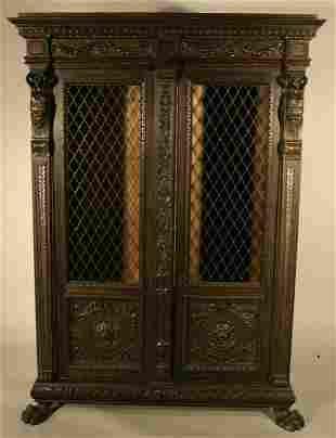 018: Walnut Renaissance revival bookcase