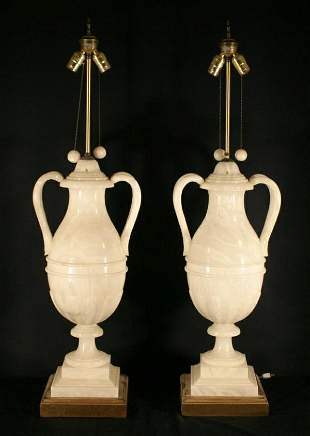 020: Pair of White Onyx Amphorae lamps with double hand
