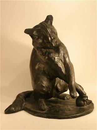 022: Bronze statue of cat & mouse, signed Van Rozen