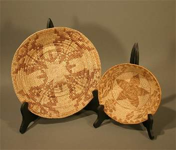 278: Two coiled bowls with large weave
