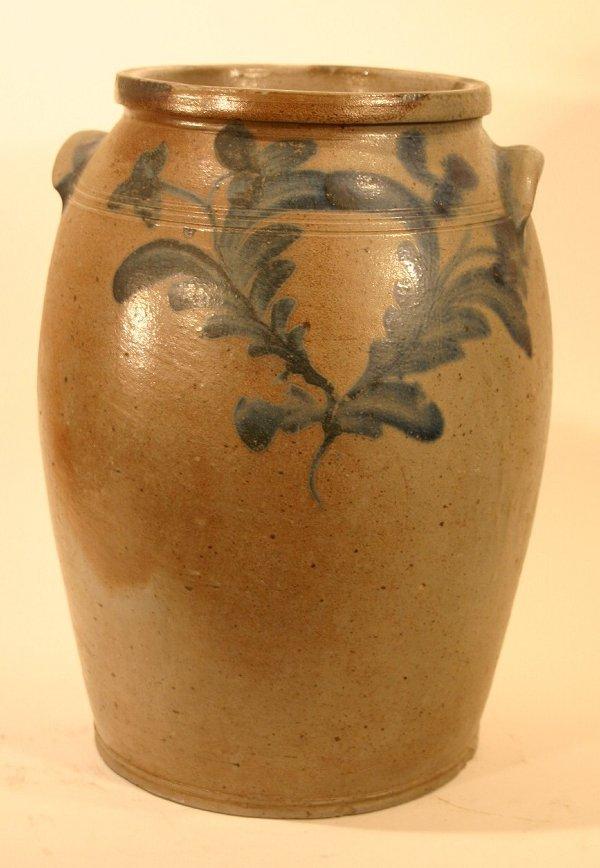 346: 3 Gallon salt glazed stoneware ovoid jar