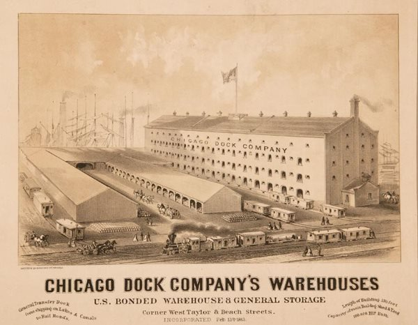 1009: Chicago Dock Company Warehouse Lithograph