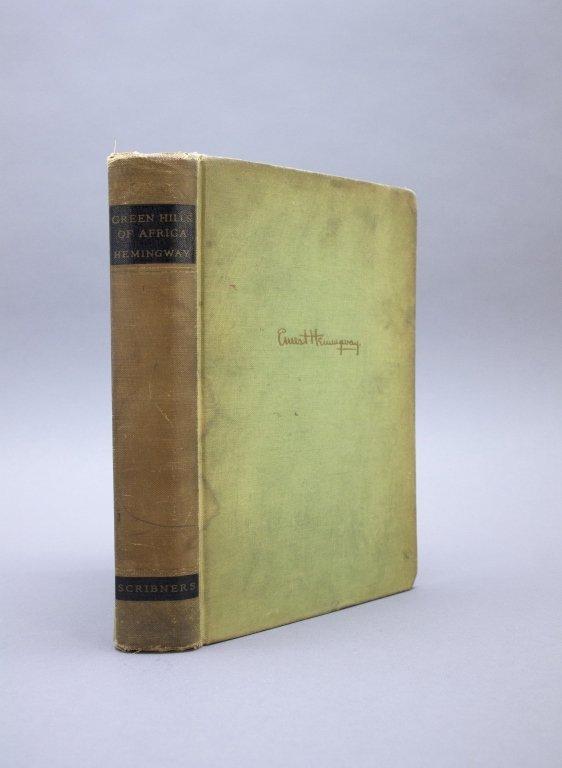 Signed: Hemingway. GREEN HILLS OF AFRICA. 1st ed.