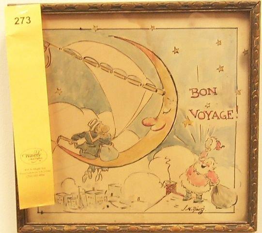 """273: Darling, J.N. """"Ding"""". Original Watercolor Drawing"""