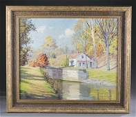 A. J. Schram, Landscape with the C&O canal, o/c.