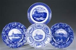 4 Staffordshire transferware plates c1840