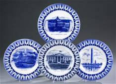 4 Staffordshire transferware plates early 20th century