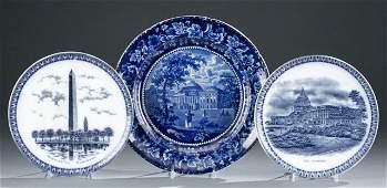 3 Staffordshire transferware plates 19th century