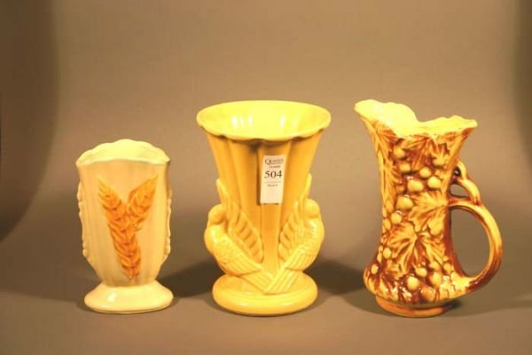 504: 2 vases by McCoy and one attributed to Shawnee or