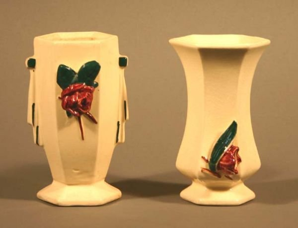 505: 2 vases with applied flowers by McCoy, some crazin