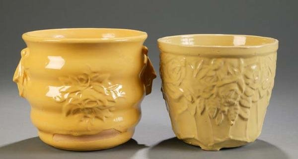 506: 2 McCoy jardinieres, yellow glaze.   This is a liv
