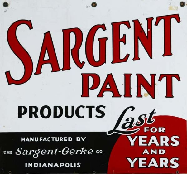 627: Vintage metal sign, ''Sargent Paint'', 28'' x 30''