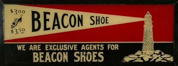 634: Vintage light up glass Beacon Shoe sign.