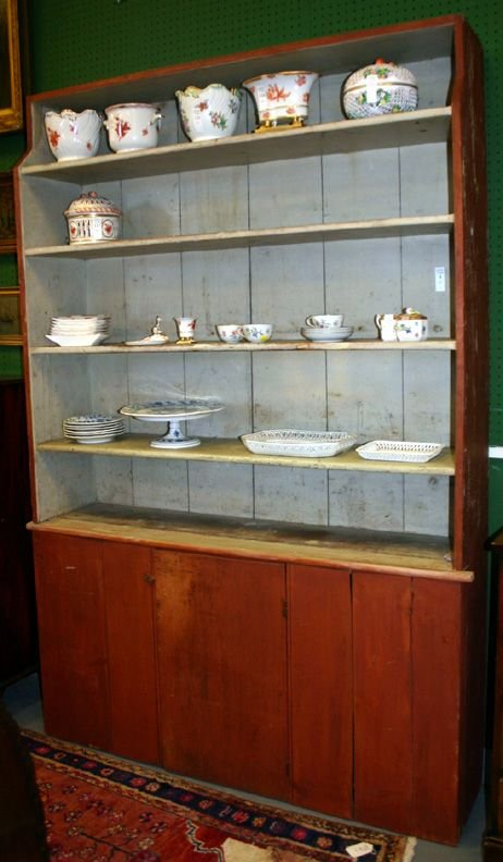 1004: Painted paneled wall cupboard, having 4-shelves a