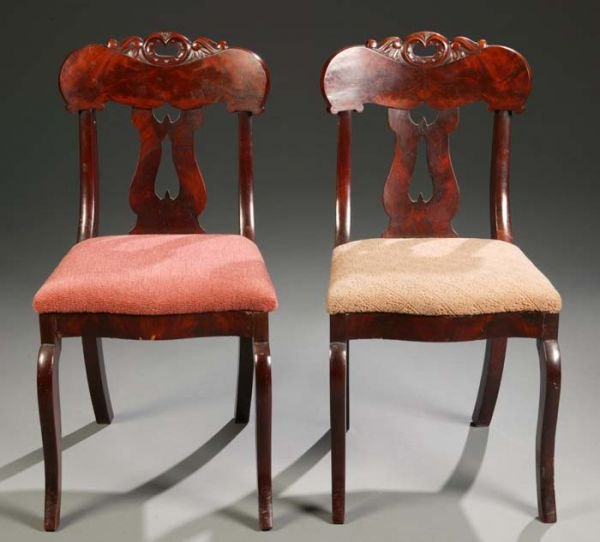 1022: Pair of Empire mahogany side chairs with pierced