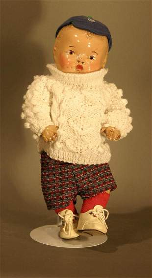 1930's Composition doll. Painted eyes and hair, s