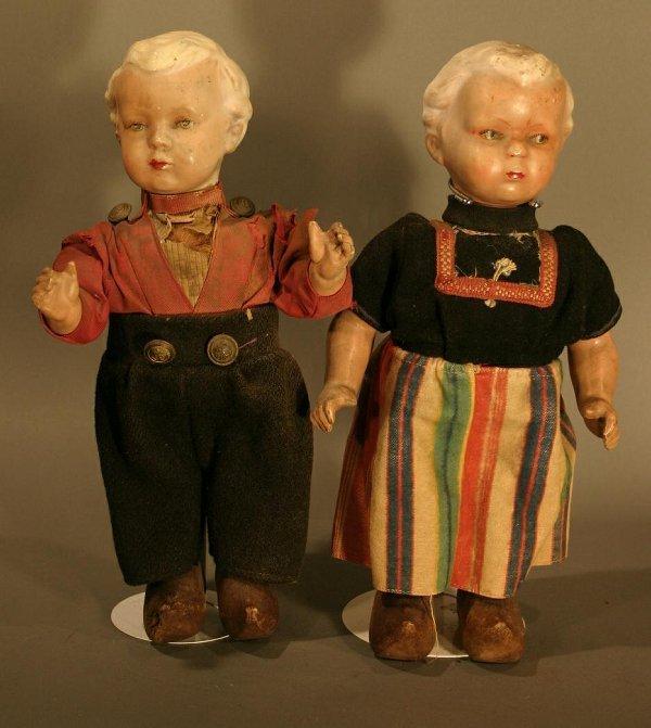 605: Pair of European Composition Dolls, Dutch boy & gi