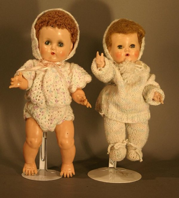 """607: Two ideal Tiny Tears, good condition.  11.5"""" and 1"""
