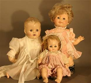 Three Dolls: Madame Alexander Pussy Cat Doll, plas