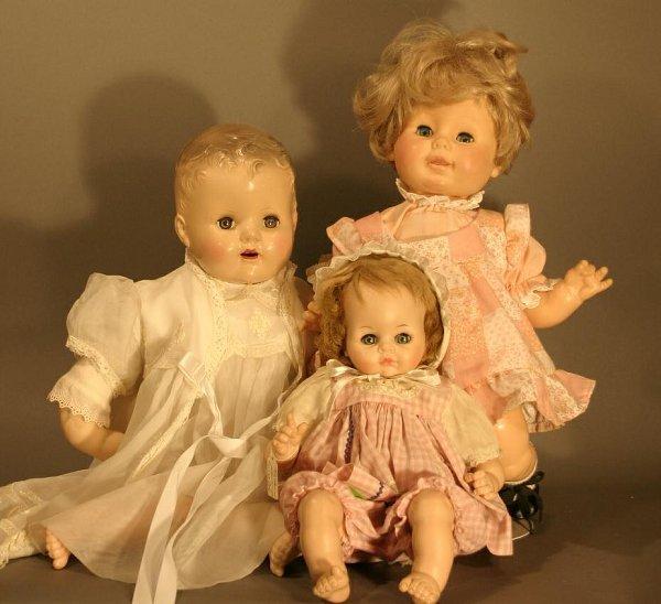 609: Three Dolls: Madame Alexander Pussy Cat Doll, plas