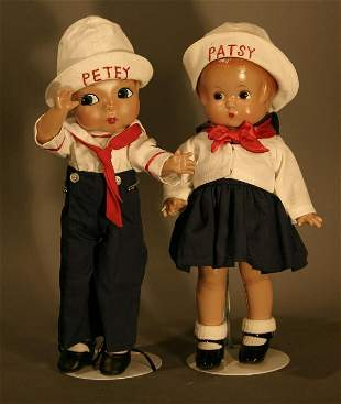 """Effanbee Patsy and Petey Sailor Dolls. 12"""" tall"""