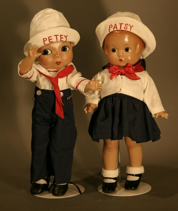 """612: Effanbee Patsy and Petey Sailor Dolls.  12"""" tall"""