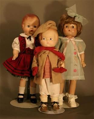 Three Modern Reproduction of Effanbee Patsy Dolls;