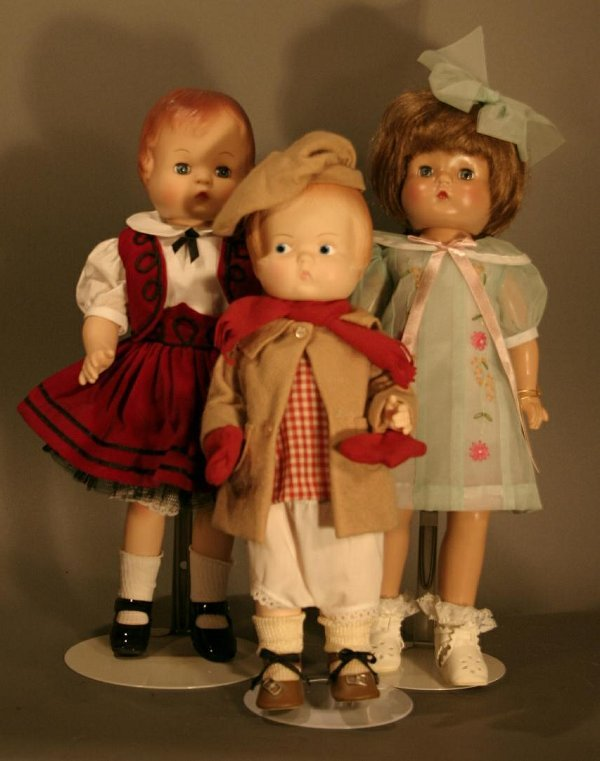 613: Three Modern Reproduction of Effanbee Patsy Dolls;