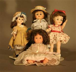 Lot of Four Small All Plastic jointed dolls. Incl