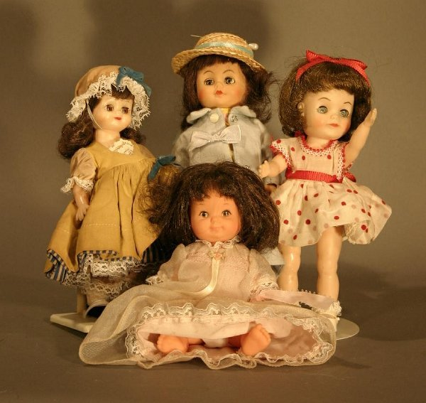 614: Lot of Four Small All Plastic jointed dolls.  Incl