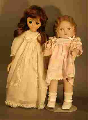"""One French plastic and cloth doll, 17.5"""" tall and"""