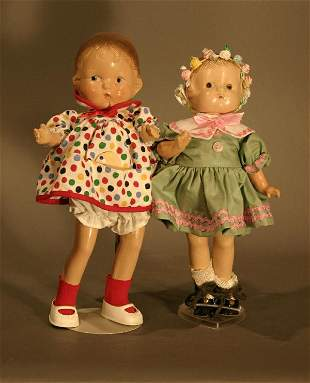 Pair of Effanbee Patseyette composition dolls.