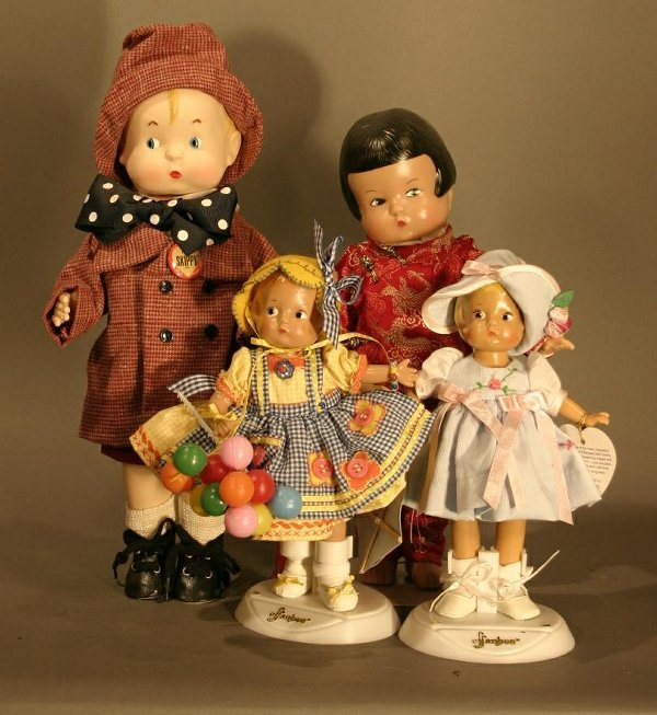 619: 4 Effanbee Reproduction Patsy Dolls, including Chi