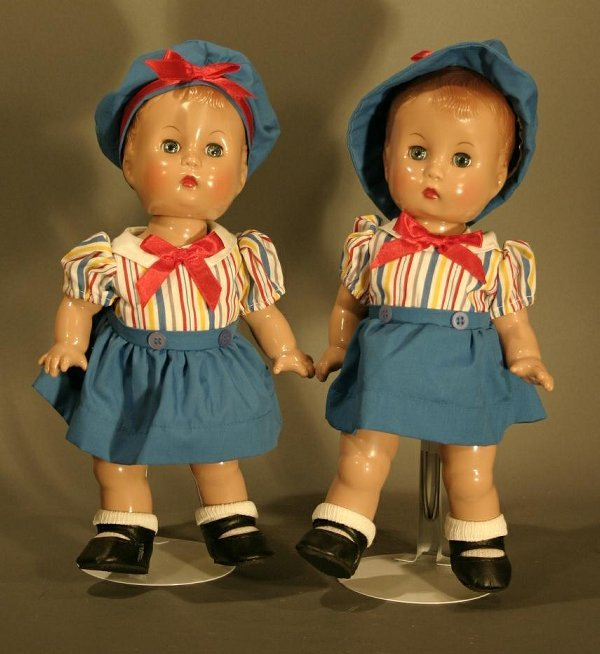 620: Effanbee 1994 Candy Kid Twins, jointed plastic.  1