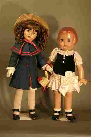 Pair of Effanbee Hard plastic jointed dolls. Pats