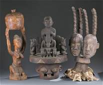 2 Headdresses and Covered figural bowl c20th